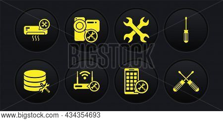 Set Database Server Service, Screwdriver, Router Wi-fi With, Mobile Apps, Crossed Wrenchs, Video Cam