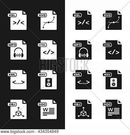 Set Html File Document, Mp3, Xsl, Svg, Xml, Wav, Doc And Obj Icon. Vector