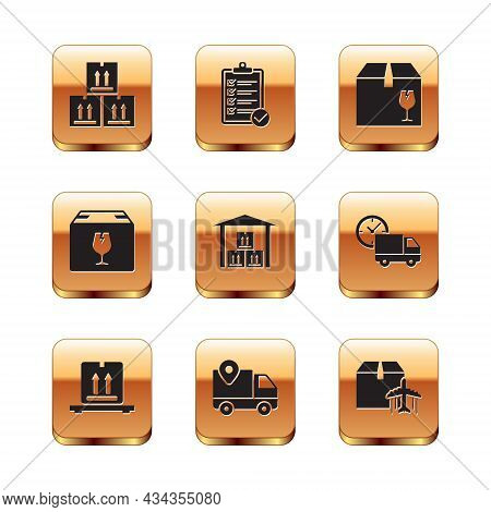 Set Cardboard Box With Traffic, Boxes On Pallet, Delivery Tracking, Warehouse, Fragile Content, Plan