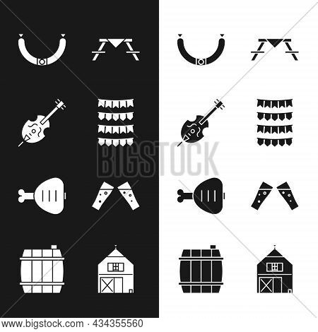Set Carnival Garland With Flags, Violin, Sausage, Picnic Table Benches, Chicken Leg, Glass Of Beer,
