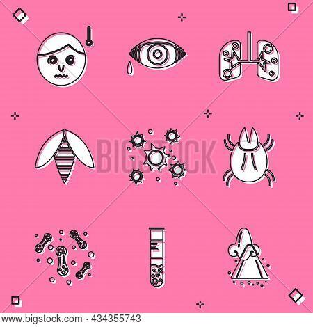 Set High Human Body Temperature, Reddish Eye Allergic Conjunctivitis, Lungs, Bee, Bacteria, Parasite