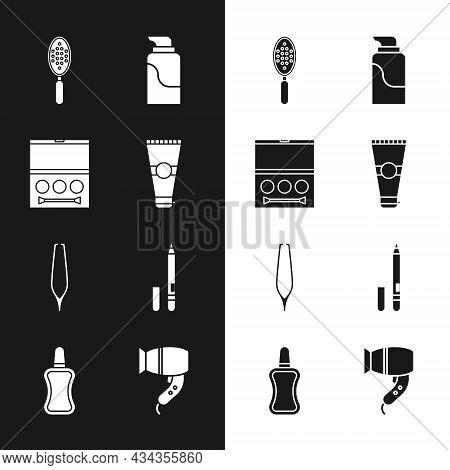 Set Lotion Cosmetic Tube, Eye Shadow Palette, Hairbrush, Cream, Eyebrow Tweezers, Eyeliner, Eyebrow,