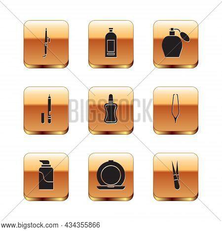 Set Curling Iron, Cream Cosmetic Tube, Makeup Powder With Mirror, Nail Polish Bottle, Eyeliner, Eyeb