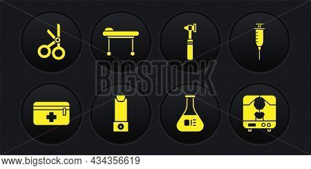 Set First Aid Kit, Syringe, Inhaler, Test Tube And Flask, Medical Otoscope Tool, Stretcher, X-ray Ma