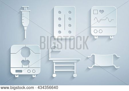 Set Operating Table, Monitor With Cardiogram, X-ray Machine, Medical Protective Mask, Pills Blister
