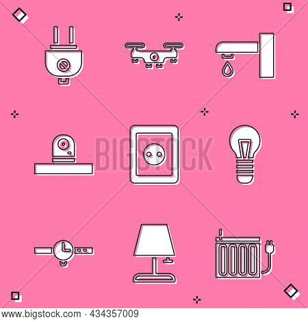 Set Electric Plug, Drone Flying, Water Tap, Security Camera, Electrical Outlet, Light Bulb, Wrist Wa