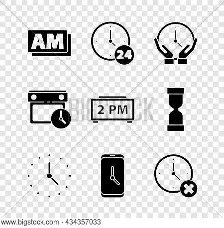 Set Clock Am, 24 Hours, Alarm Clock App Mobile, Delete, Calendar And And Digital Alarm Icon. Vector
