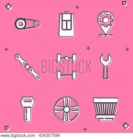 Set Timing Belt Kit, Car Key With Remote, Service, Chain, Chassis Car, Wrench Spanner, And Alloy Whe