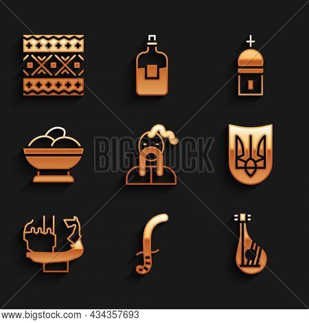 Set Ukrainian Cossack, Medieval Sword, Bandura, Trident, Monument To Founders Of Kiev, Varenyky Bowl