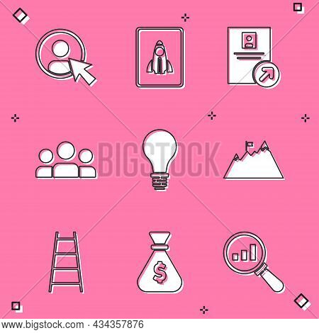 Set Create Account Screen, Startup Project Concept, Job Promotion, Users Group, Light Bulb With Of I