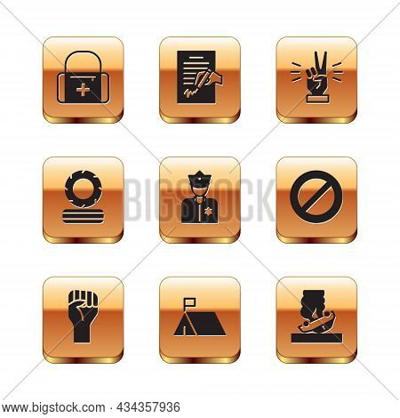 Set First Aid Kit, Raised Hand With Clenched Fist, Protest Camp, Police Officer, Lying Burning Tires