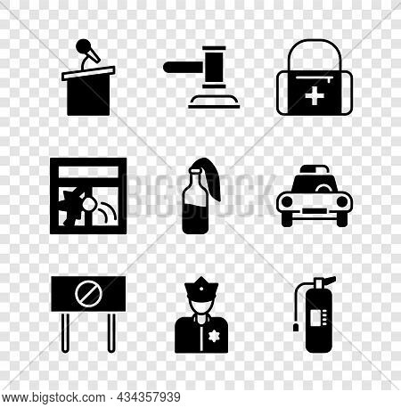Set Stage Stand Or Tribune, Judge Gavel, First Aid Kit, Protest, Police Officer, Fire Extinguisher,