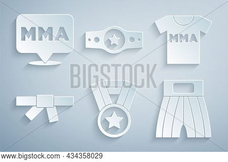Set Medal, T-shirt With Fight Club Mma, Black Karate Belt, Boxing Short, And Fight Icon. Vector