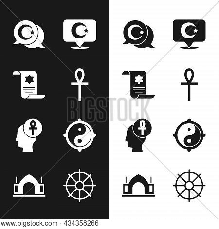 Set Cross Ankh, Torah Scroll, Star And Crescent, Yin Yang, Dharma Wheel And Hindu Spiritual Temple I
