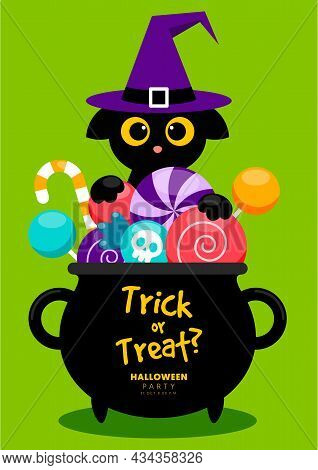 Happy Halloween Party Template Design Background Decorative With Black Cat And Candy In Clay Pot Fla