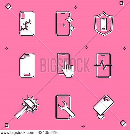 Set Mobile With Broken Screen, Glass Protector, Shield, Phone Repair Service, Hammer And Icon. Vecto