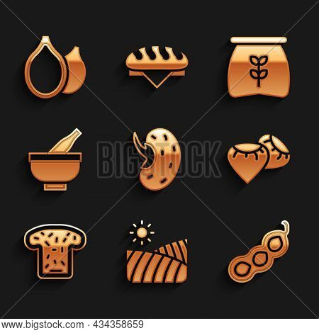 Set Seed, Agriculture Wheat Field, Green Peas, Bread Toast, Mortar And Pestle, Bag Of Flour And Pump