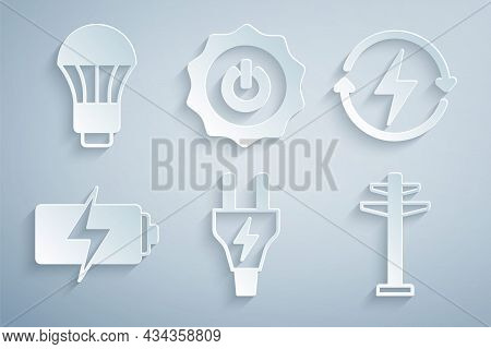Set Electric Plug, Recharging, Battery, Tower, Power Button And Led Light Bulb Icon. Vector
