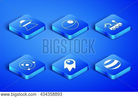 Set Planet, Ufo Flying Spaceship, Comet Falling Down Fast, Solar System, And Mars Rover Icon. Vector
