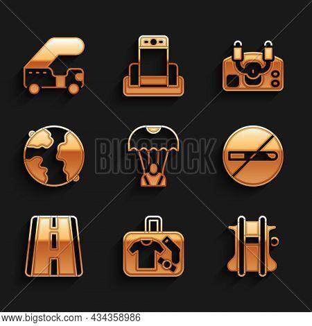 Set Parachute, Suitcase, No Smoking, Airport Runway, Worldwide, Aircraft Steering Helm And Passenger