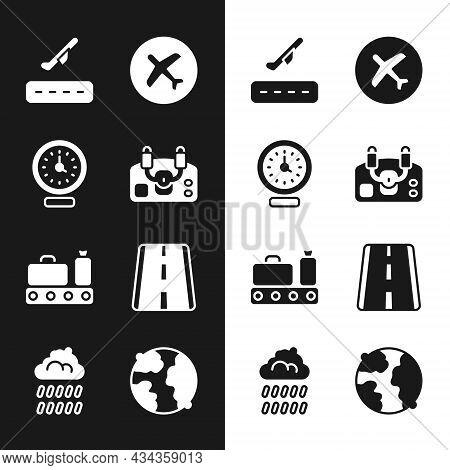 Set Aircraft Steering Helm, Clock, Plane Takeoff, Conveyor Belt With Suitcase, Airport Runway, World