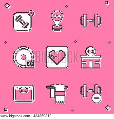 Set Fitness App, Location Gym, Dumbbell, Weight Plate, Heart Rate, Gym Building, Bathroom Scales And