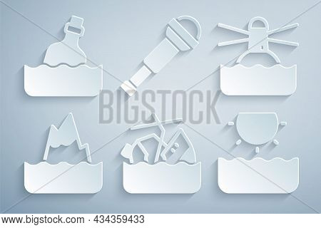Set Sinking Cruise Ship, Lighthouse, Iceberg, Sun, Spyglass Telescope Lens And Bottle With Message W
