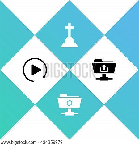 Set Video Play Button, Ftp Sync Refresh, Tombstone With Cross And Folder Upload Icon. Vector