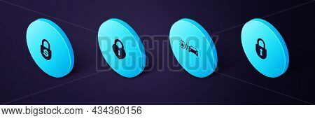Set Isometric Lock, Smart Car Alarm System, Castle In The Shape Of Heart And Money Lock Icon. Vector
