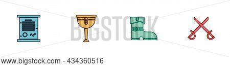 Set Decree, Parchment, Scroll, Wooden Pirate Leg, Leather Boots And Crossed Swords Icon. Vector