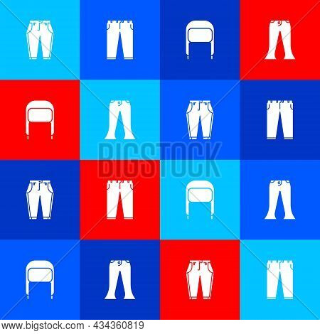Set Pants, , Winter Hat With Ear Flaps And Icon. Vector