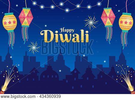 Happy Diwali Hindu Festival Background Vector Illustration With Lanterns, Lighting Fireworks, Peacoc