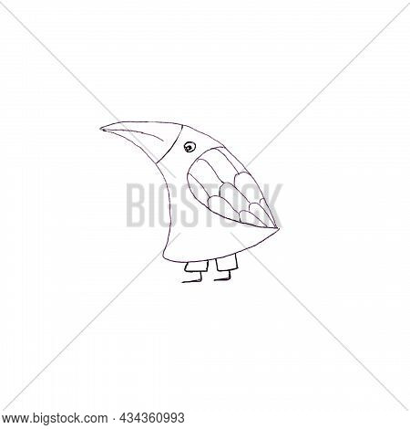 Crow Bird With Large Beak Linear Black And White Drawing