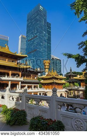 Shanghai, China - May 23, 2018: Sunset view of the Jing An temple in Shanghai, China.