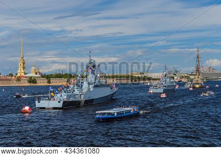Saint-Petersburg, Russia - July 24, 2020: Warships after the naval parade on the Neva River.