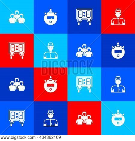 Set Team Of Baseball Players, Stopwatch, Baseball Mechanical Scoreboard And Icon. Vector