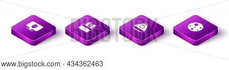 Set Isometric Alien, Astronomical Observatory, Space Capsule And Planet Mars Icon. Vector