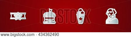 Set Star American Military, Burger, Ice Cream In Waffle Cone And George Washington Icon. Vector