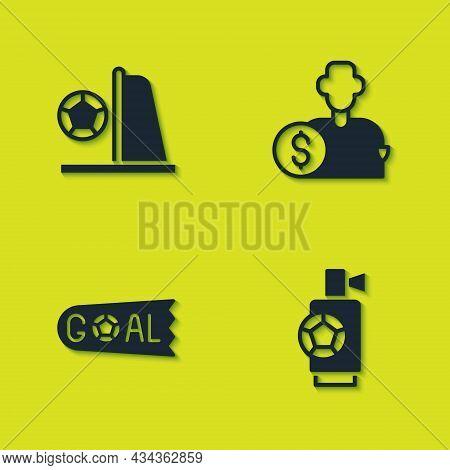 Set Football Goal With Ball, Air Horn, Goal Soccer Football And Buy Player Icon. Vector