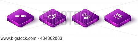 Set Isometric Protein Sport Bar, Bodybuilder, Dumbbell And Uneven Bars Icon. Vector