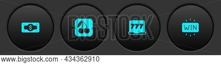 Set Stacks Paper Money Cash, Slot Machine With Cherry, Laptop And Slot And Casino Win Icon. Vector