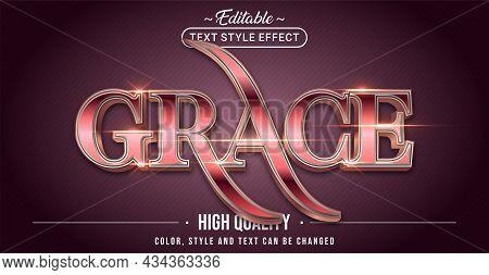 Editable Text Style Effect - Grace Text Style Theme. Graphic Design Element.