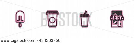 Set Line Ice Cream, Glass With Water, Coffee Cup And Pizzeria Building Facade Icon. Vector