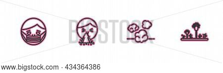 Set Line Face In Protective Mask, Dust, Handkerchief To His Runny Nose And Mold Icon. Vector