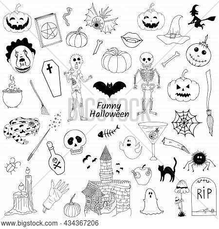 A Set Of Doodle Icons For Halloween