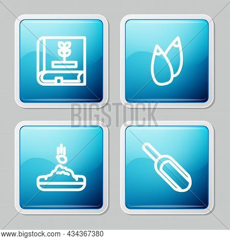 Set Line Book About Seeds, Seed, And Scoop Flour Icon. Vector