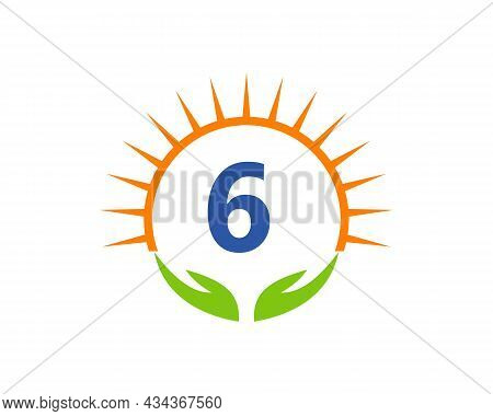 Charity Logo With Hand, Sun And 6 Letter Concept. Donation Organization Logotype On Letter 6 Concept