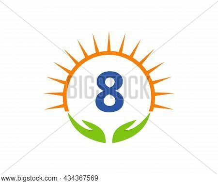 Charity Logo With Hand, Sun And 8 Letter Concept. Donation Organization Logotype On Letter 8 Concept