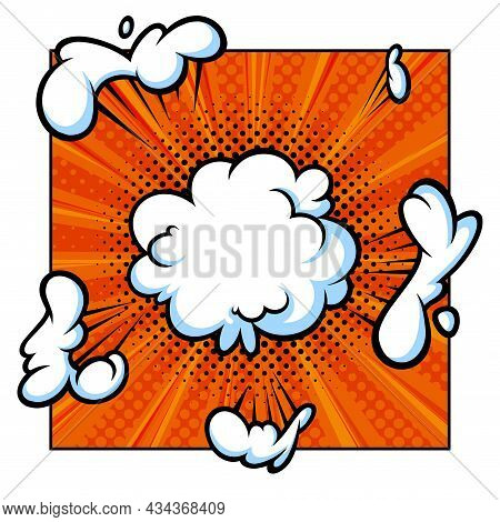 Surprising Boom Cloud In Halftone Background For Sales And Promotions. Orange Banner Template For Su