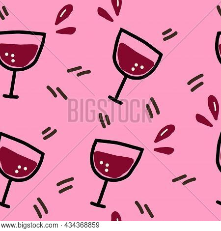 Wine Glass Seamless Pattern Hand Drawn Doodle. Vector, Minimalism, Wallpaper, Textiles, Wrapping Pap